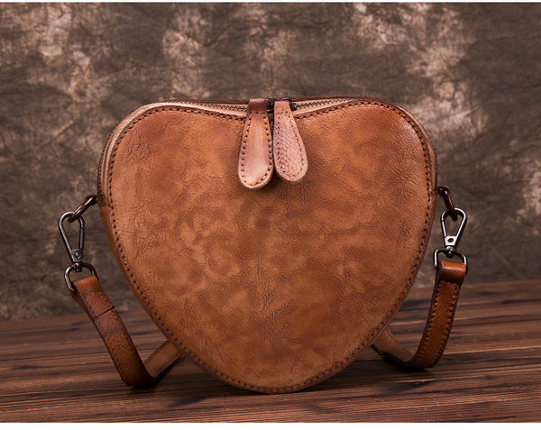 Heart Shaped Women Leather Crossbody Bags Purse Shoulder Bag for Women small
