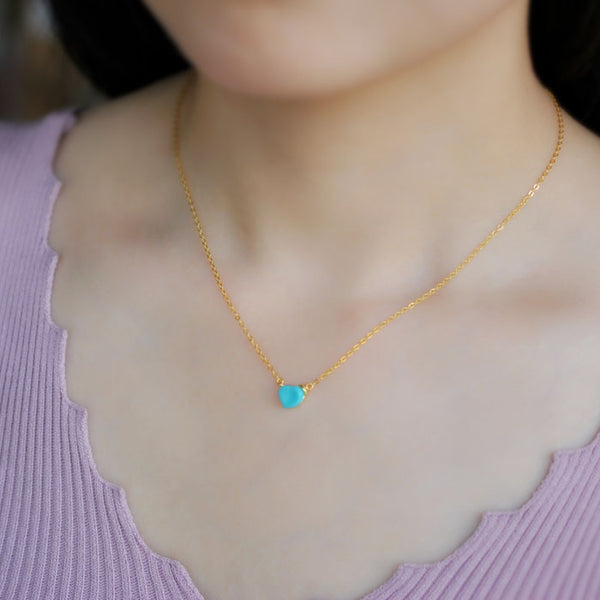 Heart Turquoise Pendant Necklace Gold Sterling Silver Gemstone Jewelry Accessories Women charming