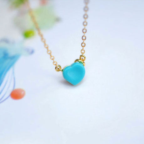 Heart shape Turquoise Pendant Necklace in 18K Gold Plated Sterling Silver Gemstone Jewelry Accessories Women