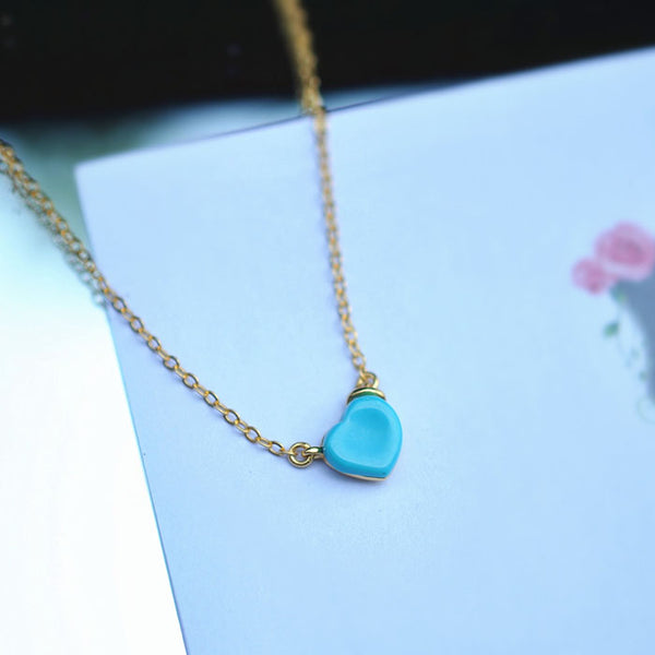 Heart Turquoise Pendant Necklace Gold Sterling Silver Gemstone Jewelry Accessories Women gift