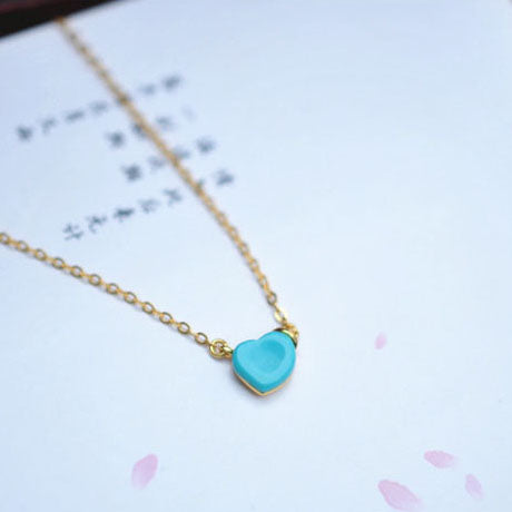 Heart Turquoise Pendant Necklace Gold Sterling Silver Gemstone Jewelry Accessories Women green
