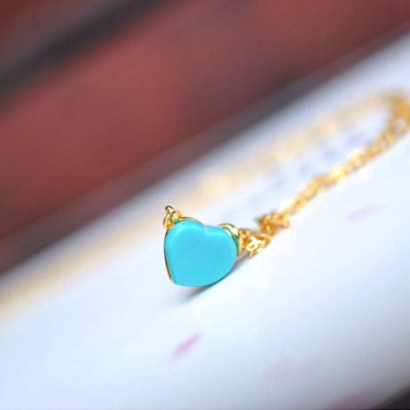 Heart Turquoise Pendant Necklace Gold Sterling Silver Gemstone Jewelry Accessories Women