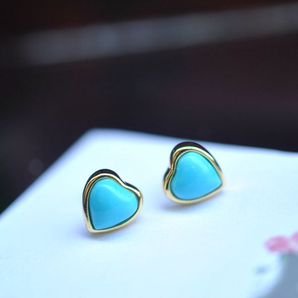 Heart Turquoise Stud Earrings Gold Silver Gemstone Jewelry Accessories Women cute