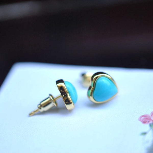 Heart Turquoise Stud Earrings Gold Silver Gemstone Jewelry Accessories Women gift