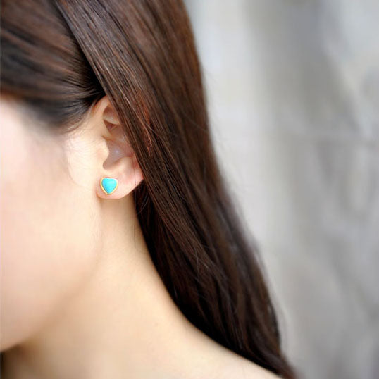 Heart Turquoise Stud Earrings Gold Silver Gemstone Jewelry Accessories Women wear