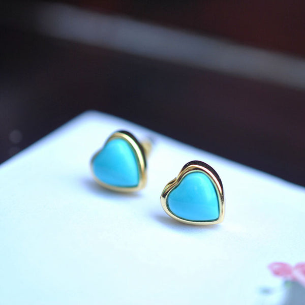 Heart Turquoise Stud Earrings Gold Silver Gemstone Jewelry Accessories Women