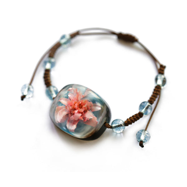 Herbage Resin Bracelet Unique Handmade Jewelry Accessories Gifts Women
