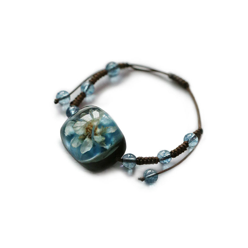Herbage Resin Bracelet Unique Handmade Jewelry Accessories Gifts Women blue
