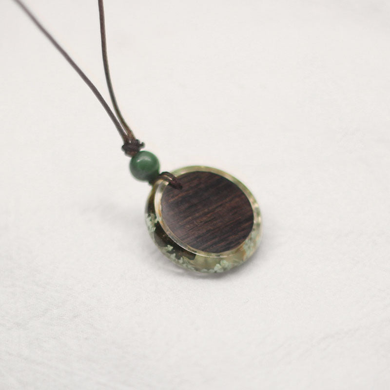 Herbage Wood Resin Unique Pendant Necklace Handmade Couple Jewelry Accessories Women Men cool