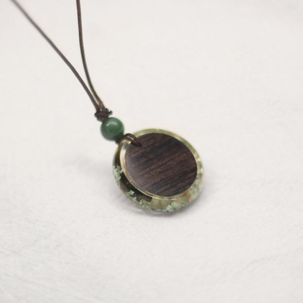 Herbage Wood Resin Unique Pendant Necklace Handmade Couple Jewelry Accessories Women Men