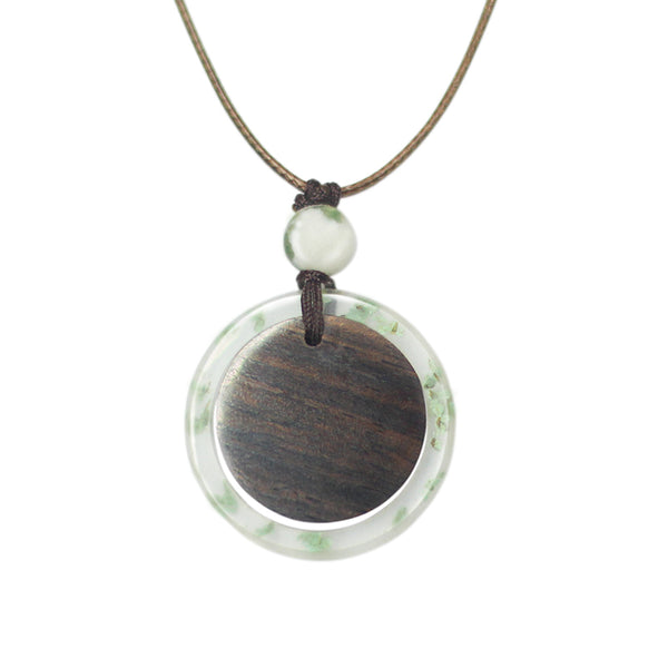 Herbage Wood Resin Unique Pendant Necklace Handmade Couple Jewelry Accessories Women Men nice