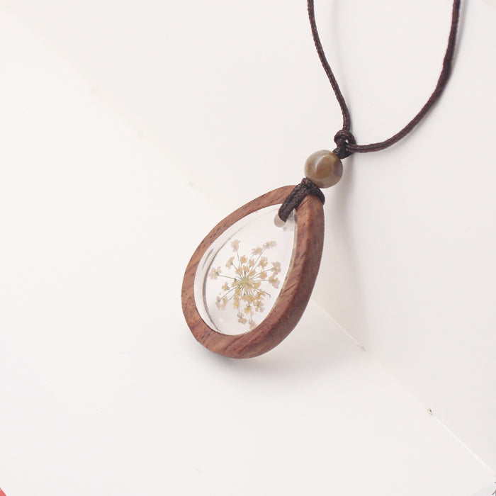 Herbage Wood Resin Unique Pendant Necklace Handmade Jewelry Accessories Gift Women adorable