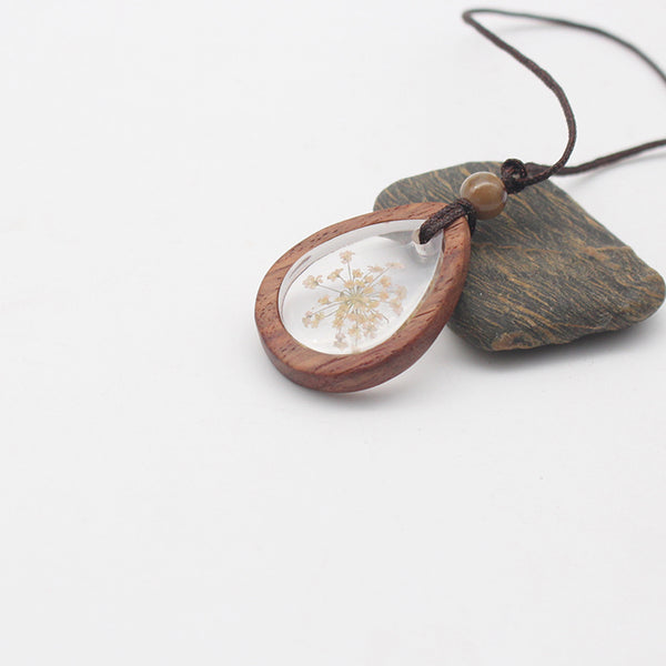 Herbage Wood Resin Unique Pendant Necklace Handmade Jewelry Accessories Gift Women nice