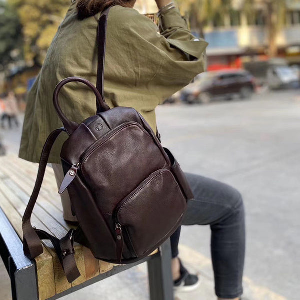 Ladies Anti Theft Leather Backpack Purse With Headphone Cable Hole Rucksack for Women Designer