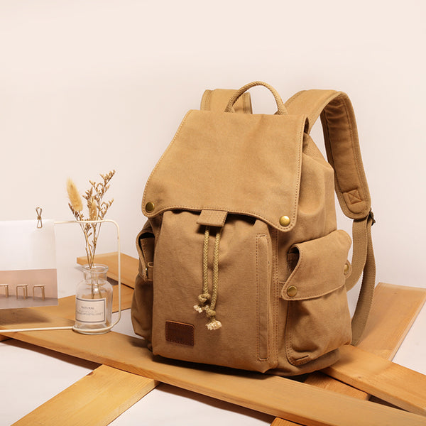 Ladies Canvas Drawstring Backpack Purse Travel Backpack Rucksack For Women