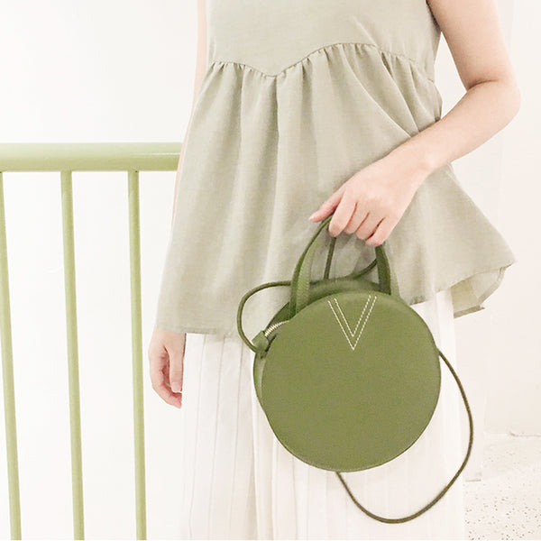 Ladies Cute Leather Crossbody Bags Circle Bag Shoulder Bags for Women green