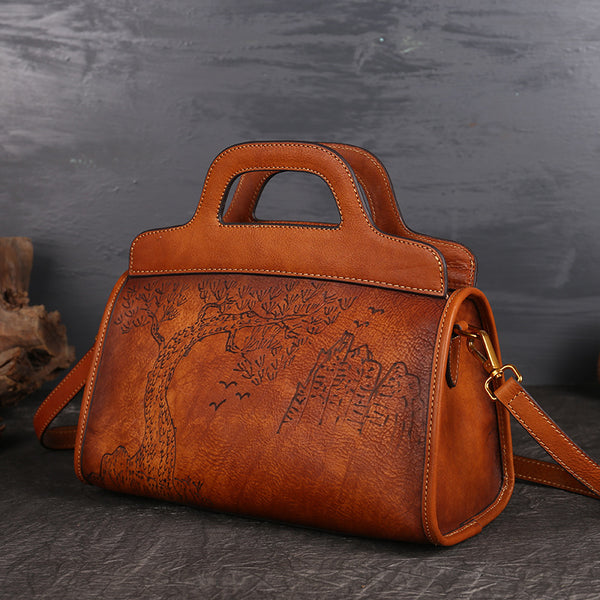 Ladies Designer Pyrography Leather Boston Handbags Crossbody Satchel Purse for Women