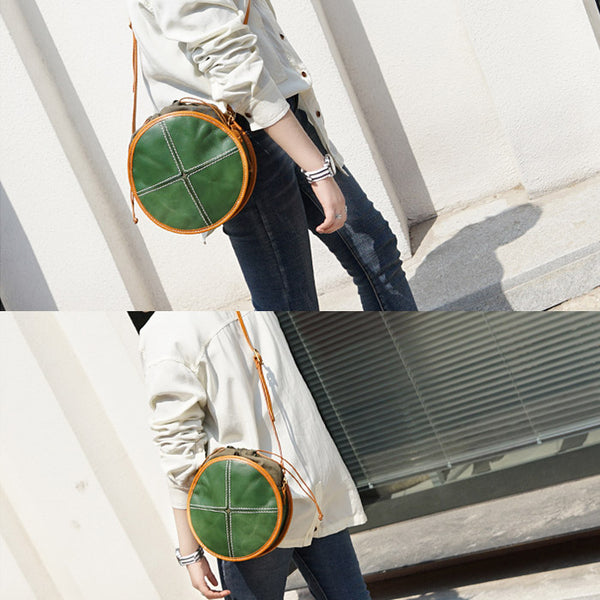 Ladies Green Leather Circle Bag Round Purse Small Crossbody Purse for Women Boutique