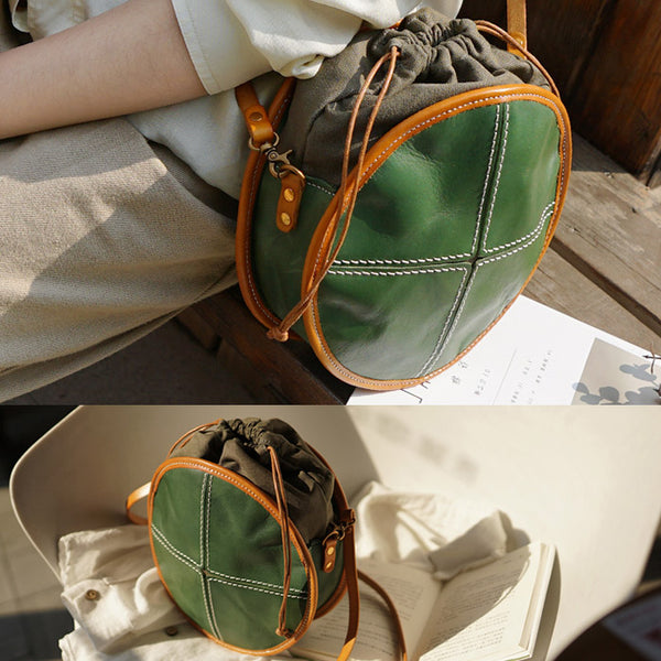 Ladies Green Leather Circle Bag Round Purse Small Crossbody Purse for Women Chic