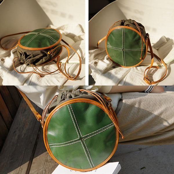 Ladies Green Leather Circle Bag Round Purse Small Crossbody Purse for Women Accessories