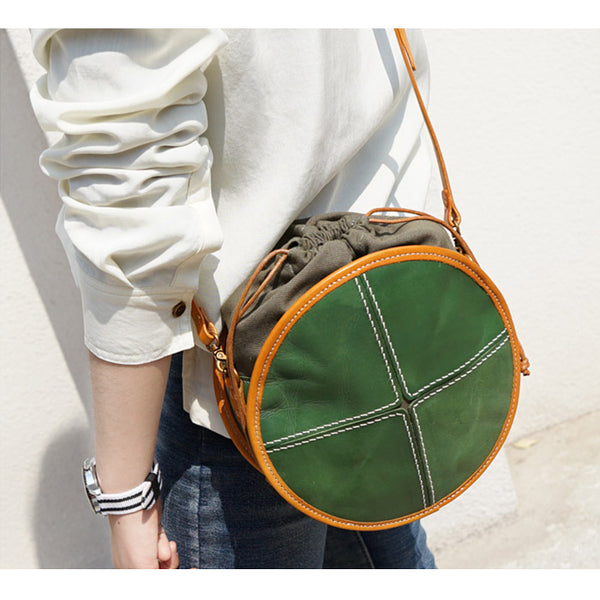 Ladies Green Leather Circle Bag Round Purse Small Crossbody Purse for Women