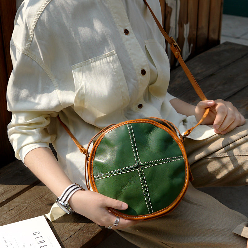 Ladies Green Leather Circle Bag