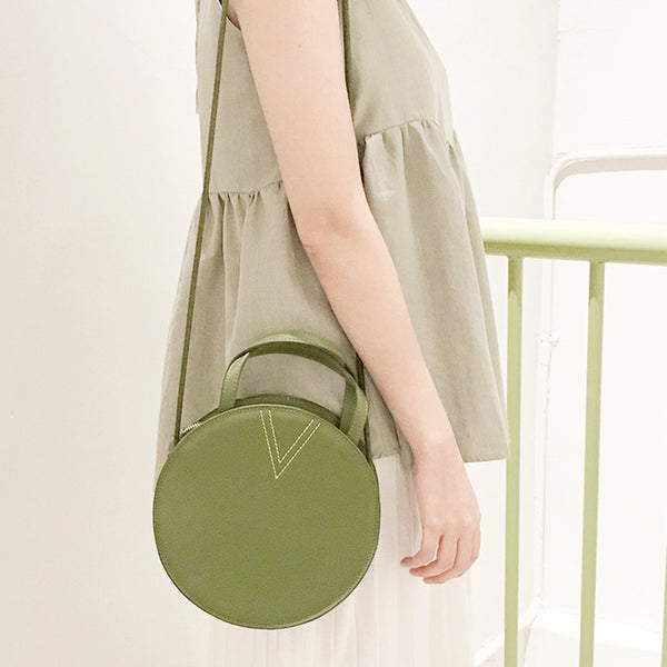 Ladies Green Leather Crossbody Bags Women Shoulder Bag Circle Bag Accessories