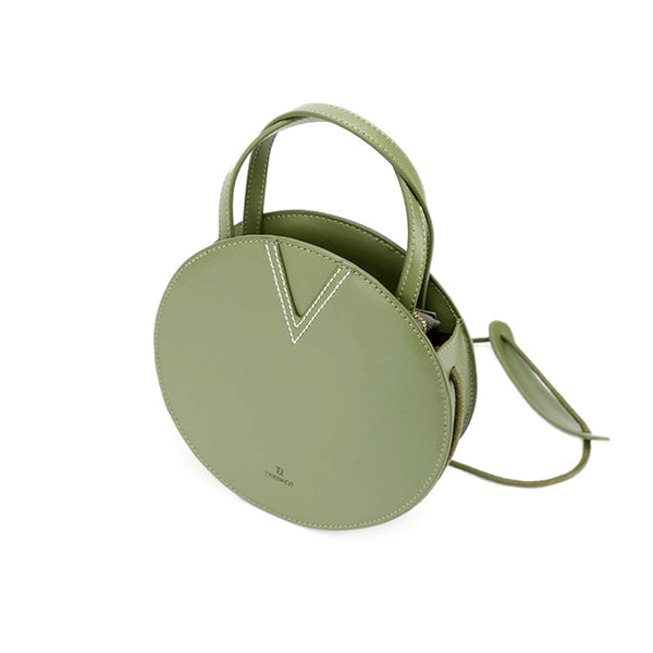 Ladies Green Leather Crossbody Bags Women Shoulder Bag Circle Bag Details