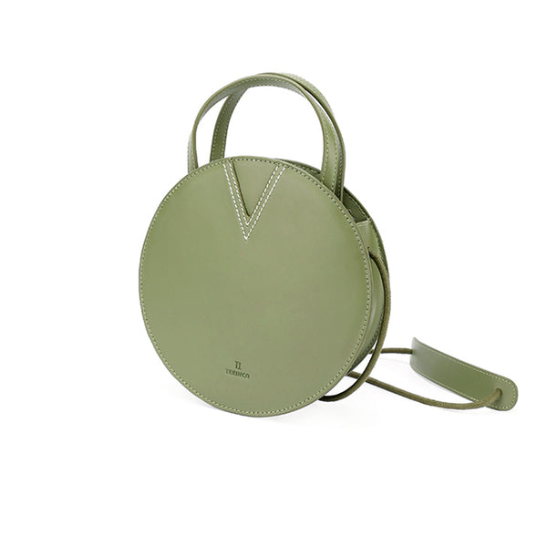 Ladies Green Leather Crossbody Bags Women Shoulder Bag Circle Bag chic