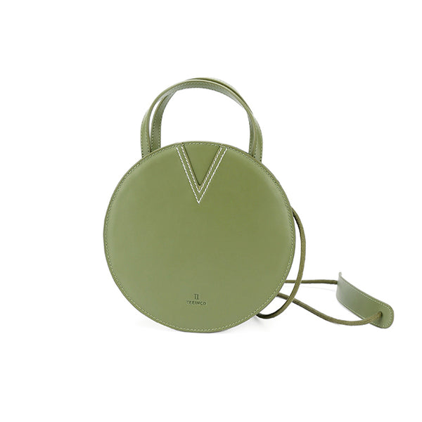 Ladies Green Leather Crossbody Bags Women Shoulder Bag Circle Bag