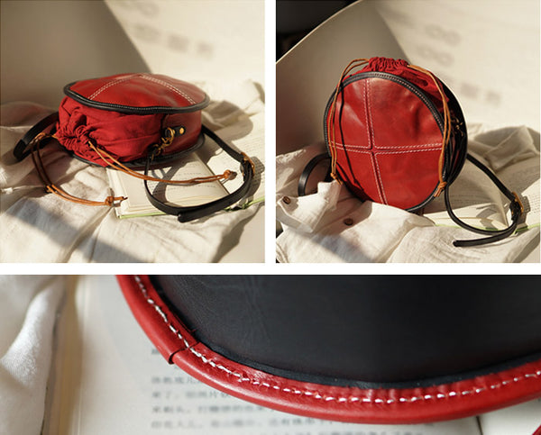 Ladies Leather Circle Bag Round Purse Small Crossbody Purse for Women Chic