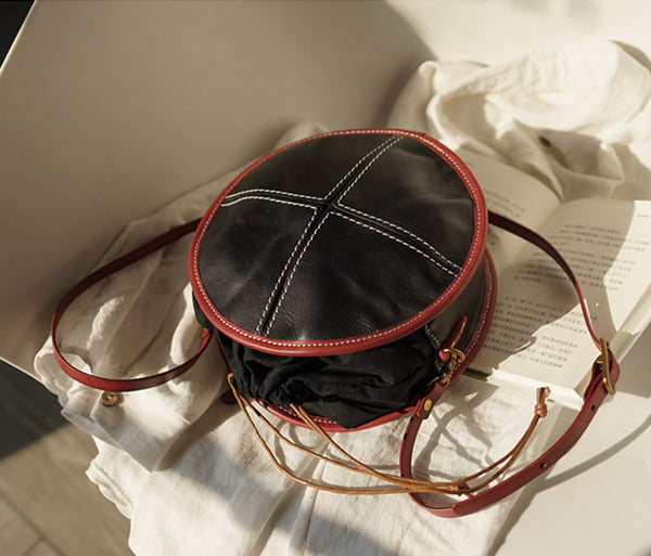 Ladies Leather Circle Bag Round Purse Small Crossbody Purse for Women Details