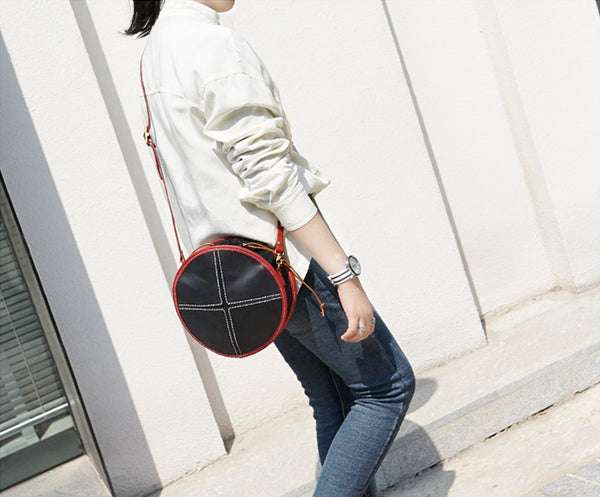 Ladies Leather Circle Bag Round Purse Small Crossbody Purse for Women Genuine Leather