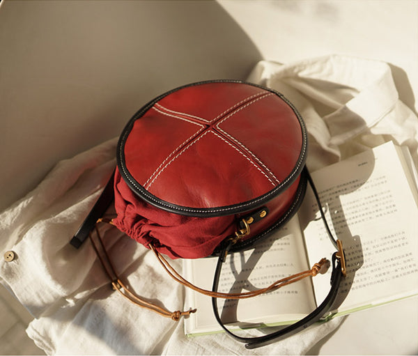 Ladies Leather Circle Bag Round Purse Small Crossbody Purse for Women beautiful