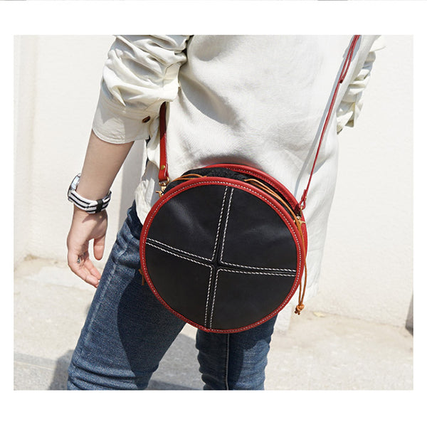 Ladies Leather Circle Bag Round Purse Small Crossbody Purse for Women cute