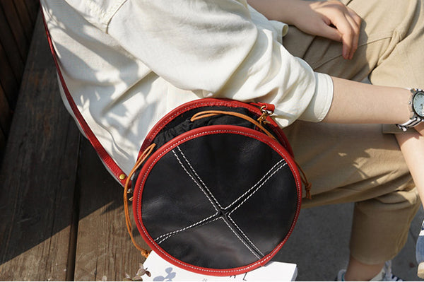 Ladies Leather Circle Bag Round Purse Small Crossbody Purse for Women fashion