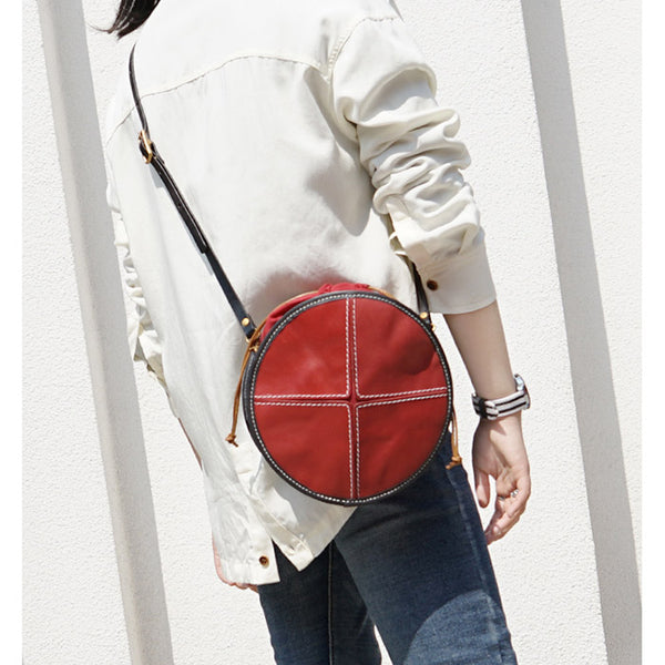 Ladies Leather Circle Bag Round Purse Small Crossbody Purse