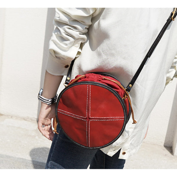 Ladies Leather Circle Bag Round Purse Small Crossbody Purse for Women