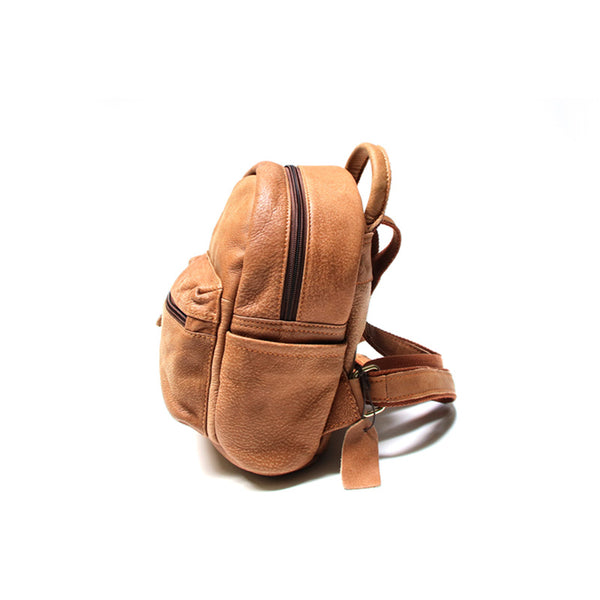 Ladies Mini Brown Leather Backpack Purse Back Bag Cute Backpacks for Women