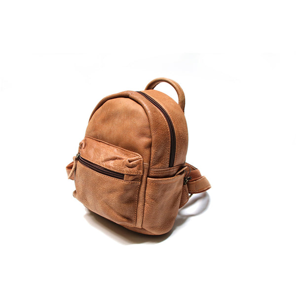 Ladies Mini Brown Leather Backpack Purse