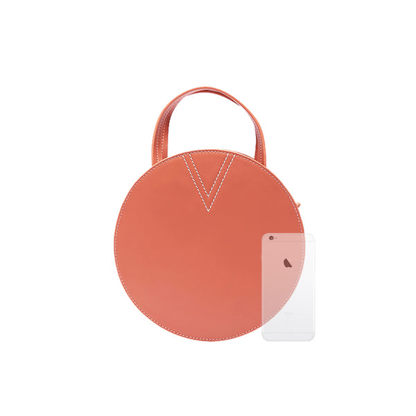 Ladies Pink Leather Crossbody Bags Women Shoulder Bag Circle Bag chic