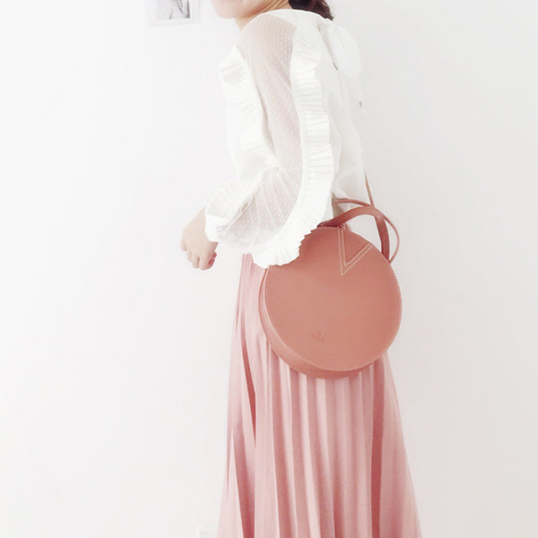 Ladies Pink Leather Crossbody Bags Women Shoulder Bag Circle Bag cute