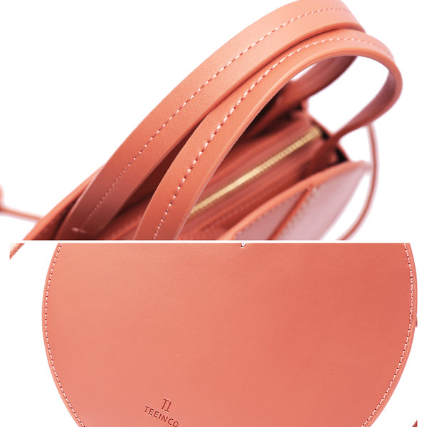 Ladies Pink Leather Crossbody Bags Women Shoulder Bag Circle Bag for women handmade bag