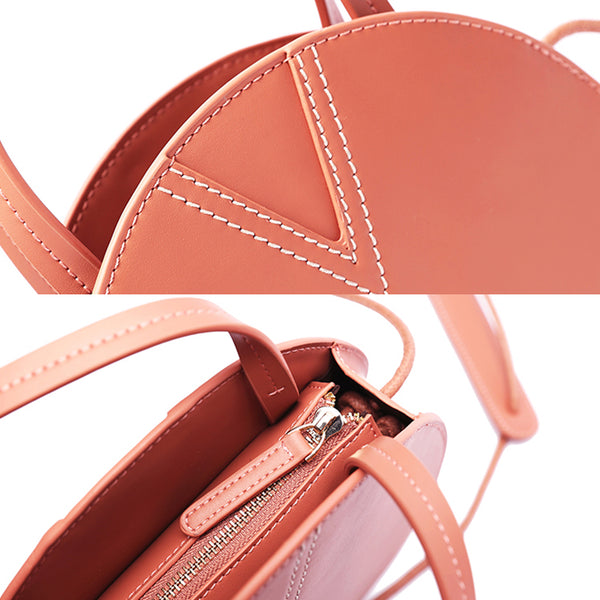 Ladies Pink Leather Crossbody Bags Women Shoulder Bag Circle Bag for women handmade craft