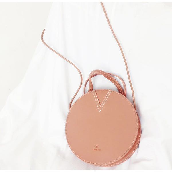 Ladies Pink Leather Crossbody Bags Women Shoulder Bag Circle Bag mini