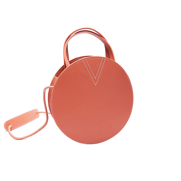 Ladies Pink Leather Crossbody Bags Women Shoulder Bag Circle Bag round bag