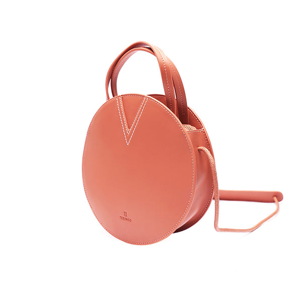Ladies Pink Leather Crossbody Bags Women Shoulder Bag Circle Bag round purse 1