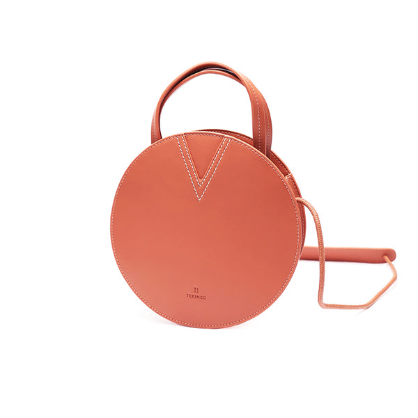 Ladies Pink Leather Crossbody Bags Women Shoulder Bag Circle Bag stylish