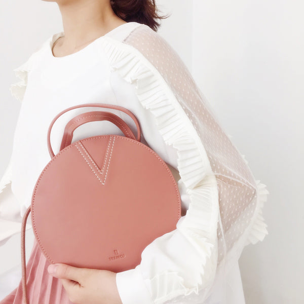 Ladies Pink Leather Crossbody Bags Women Shoulder Bag Circle Bag