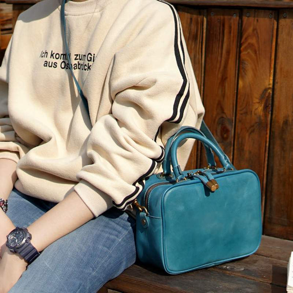 Ladies Small Cube Bag Blue Leather Handbag Crossbody Purse for Women